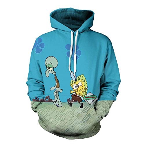 Fleyel Unisex Kapuzenpullover, Spongebob Squarepants 3D Druck Hoodie Pullover Bunt Langarm Sweatshirt Mantel Tops Winddicht Anime Freizeit Festival Party Lose Unterhemd Paare