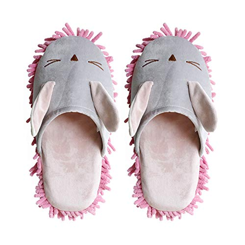 Mop Slippers 2 Pairs Of Men And Women Cartoon Slippers Floor Cleaning Mop House Dusting Slippers Floor Dust Dirt Cleaning Slipper Unisex Slippers Floor (Color : Pink, Size : Medium)