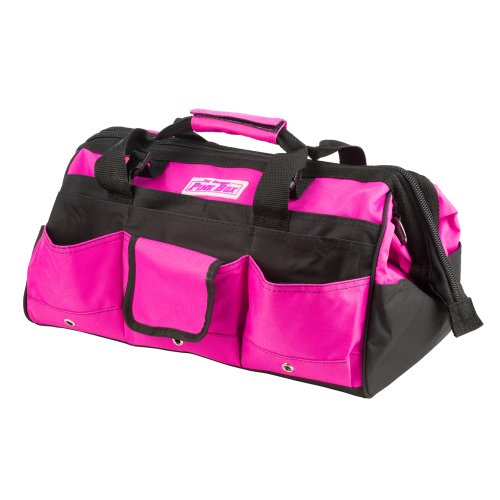 Pink too box, Pink tool duffel bag with pouches and strap. Tool bag for woman