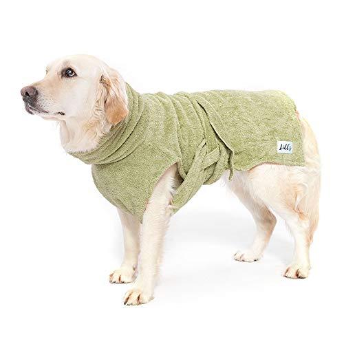Lill's Hundebademantel, 100% Bio-Baumwolle, Organic Green Leaf (Grün) (S)