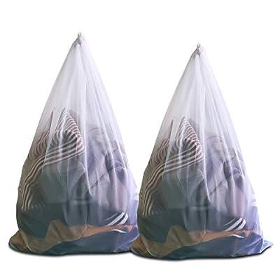 Ulable Mesh Laundry Bags Washing Bags for Washing Machine White Wash Bag Large Laundry bags Laundry Net (Size:60 x90cm) (2 Pack)