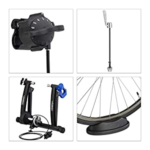Relaxdays Rodillo Bicicleta Plegable para Ruedas de 26 - 28 Pulgadas, Antideslizante, Acero, 41 x 54,5 x 60 cm, Negro