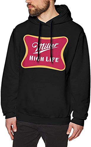 Rehero Men's Miller High Life Long Sleeve Hooded Sweat Shirt Pullover,As Pic,3X-L