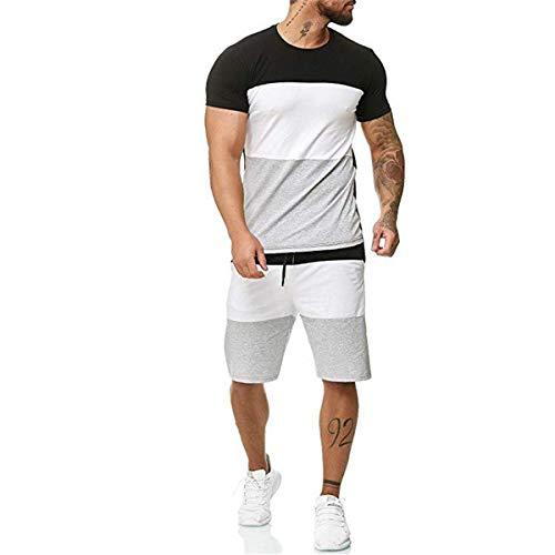 Juego de camiseta y pantalones cortos para hombre, diseño de rayas, con cordón elástico en la cintura