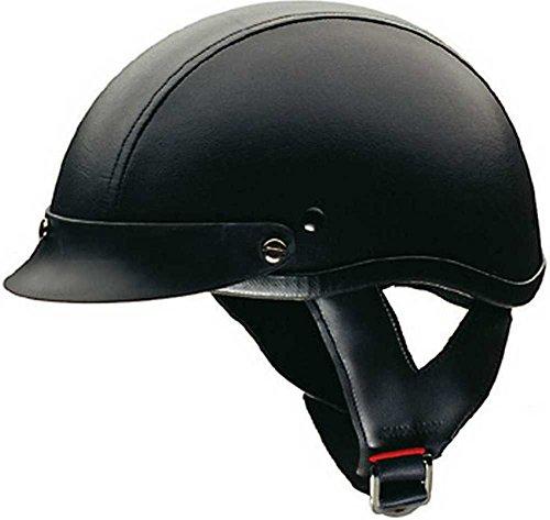 HCI Leather Stripe Black Half Motorcycle Helmet. 100-131