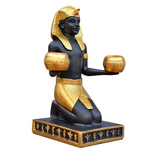 NLRHH Estatua antigua egipcia faraón águila dios thoth mitológico dios mesa de comedor figura retro chimenea estatuilla decoración del hogar ornamento portavelas de resina B,A