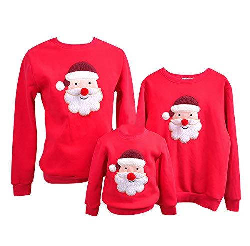 Felpe Natale Famiglia Maglioni Natalizi Felpa Maglie Natalizie Uomo Pullover Natalizio Maglione Natalizia Girocollo Bambina Bambini Donna Senza Cappuccio Renna Coppia Invernali Casual Larghe Rosso XL