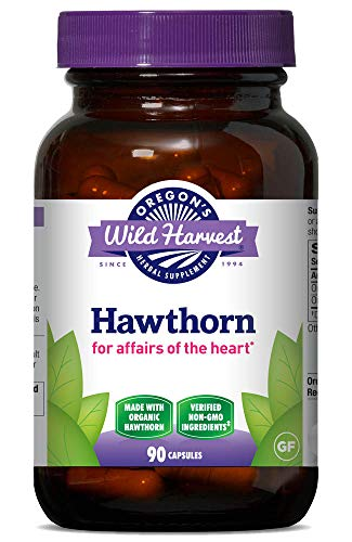 Oregon's Wild Harvest, Certified Organic Hawthorn Capsules for Heart Health, 1200 mgs, 90 Ct