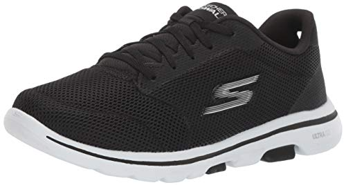 Skechers Women's GO Walk 5 - Lucky Sneaker, Black/White, 8 M US