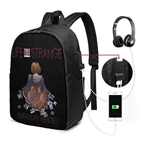 Lawenp Das Leben ist seltsam Laptop-Rucksack 17-Zoll-College-Schule Rucksack mit USB-Ladeanschluss Casual Daypack für die Reise