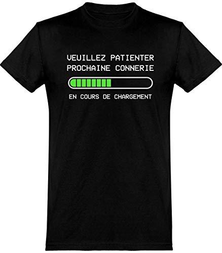 otshirt T Shirt Homme Prochaine connerie en Cours | 100% Coton | Cadeau,XL,Noir