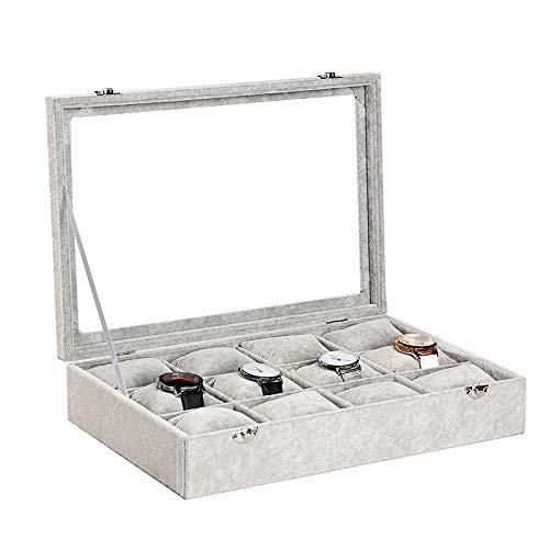 KAR 12 Grid Räume Watch Box, Qualitäts-Graue Flanell Weiche Uhr Vitrinen Schmuck Armband-Organisator-Speicher