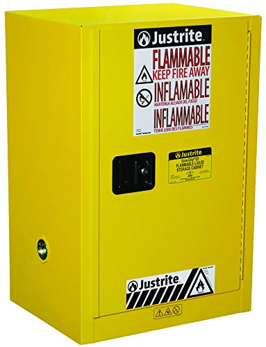 Justrite 891200 Sure-Grip EX 12 Gallon, 35' H x 23-1/4' W x 18' D, 1 Door, 1 Shelf, Manual-Close Yellow Compact Flammable Storage Cabinet
