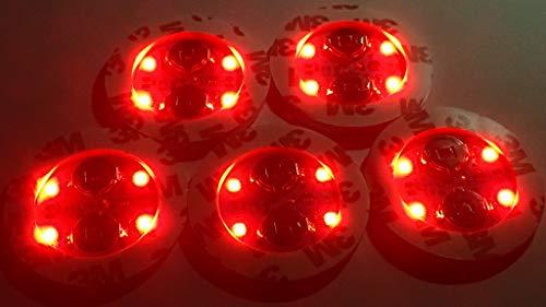 カラー選択 1枚 光る LEDコースターシール 直径5cm シールで貼り付けるコースター 4LED シャンパングラス シャンパン ハーバリウム アイスペールなど (レッド)
