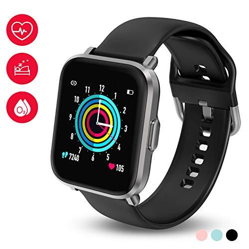 smartwatch 40mm HolyHigh Smartwatch Fitness Tracker con Touchscreen a Colori Orologio Fitness con Monitor di Battito Cardiaco & Sonno Cronometro Contapassi Impermeabilità IP68 Autonomia di 10 Giorni