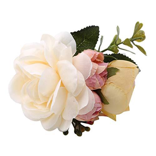 LJSLYJ Clips épingles à cheveux Combs Brides mariage de demoiselle d'honneur de fleur en tissu Accessoires de cheveux, Beige