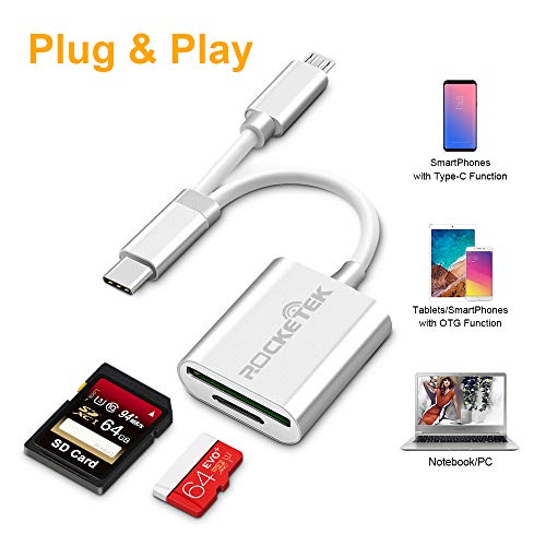 4 in1 USB C auf SD/MicroSD OTG-Kartenleser, Rocketek USB 3.0 Compact 2 SD/MicroSD-Steckplatz, Micro USB auf USB Typ C-Aluminiumadapter Kompatibel mit Android-Smartphones / -Tablets mit OTG-Funktion
