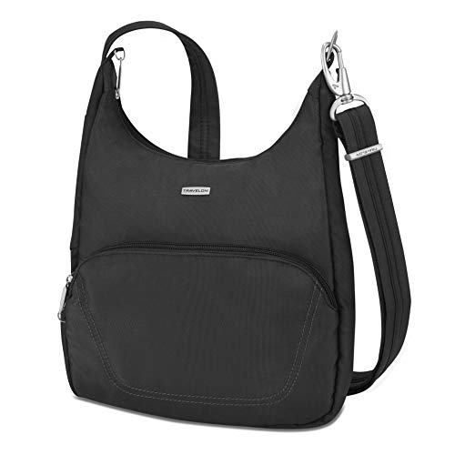 Cross-body bag in slash-proof construction featuring adjustable cut-proof strap and logo plaque at front Locking compartments. Strap Length- 25 - 45. Strap Drop Length- 14 - 25.25 RFID-blocking card and passport slots Removable LED light