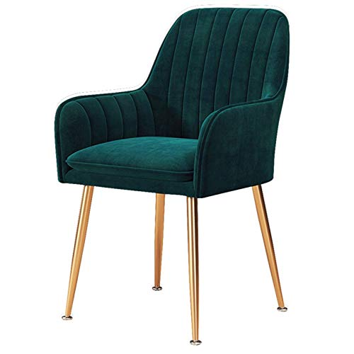 Dining Chair Arms and Back Support Lounge Padded Chic Office Chair Velvet Fabric Side Chair Soft Seat Gold Metal Legs (Color : Green)
