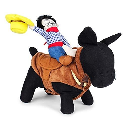 HAMISS, Costume Divertente per Cani e Gatti, Abbigliamento per Halloween, Cosplay, Cowboy Western Equitazione, Giacca, Mantella, Accessori per Cani, Large