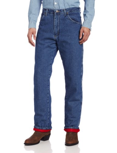 Wrangler Rugged Wear Men's Woodland Thermal Jean ,Stonewashed Denim,36x32