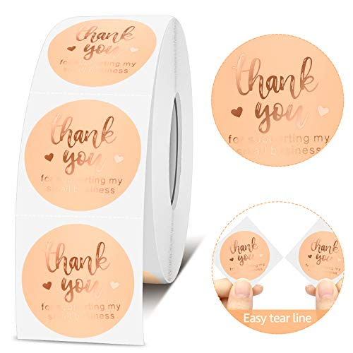 GXAO Thank You Stickers Roll 1000pcs, Rose Gold Foil 1.5 Inch Thank You Stickers,Thank You for Supporting My Small Business Stickers for Sealing, Decoration, Bags, Envelopes, Bubble mailers, Packing