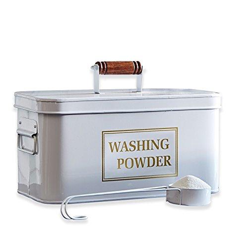 Loberon Waschmittelbehälter Washing, Eisen/Mangoholz, H/B/T ca. 16/17 / 31,5 cm, weiß