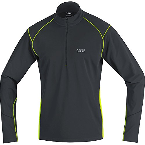 GORE Wear Atmungsaktives Herren Langarm-Shirt, R3 Thermo Long Sleeve Zip Shirt, L, Schwarz/Neon-Gelb, 100349