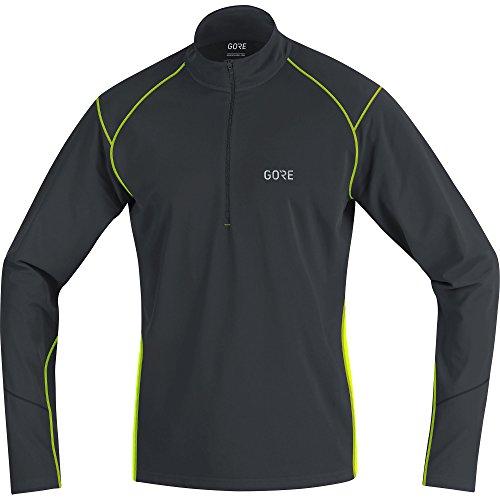 GORE Wear Atmungsaktives Herren Langarm-Shirt, R3 Thermo Long Sleeve Zip Shirt, M, Schwarz/Neon-Gelb, 100349