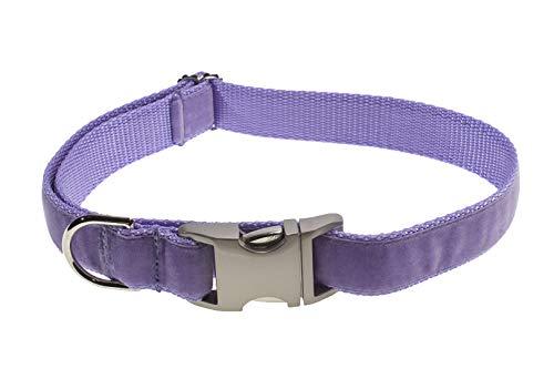 Medium Velvet Lavender Dog Collar: 3/4' Wide, Adjusts 13-20' - Made in USA.