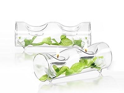 JoyJolt Set of 2 Clear Glass TeaLight Candle Holders Centerpiece TeaLight Holder