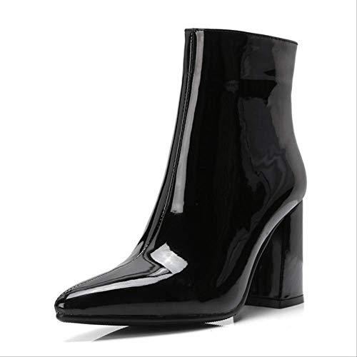 SHZSMHD Frauen Herbst Stiefel PU Leder Spitz Quadrat Ferse Gummistiefel Mode High Heel Frauen Schuhe Silber Größe 35-42 6 Schwarz