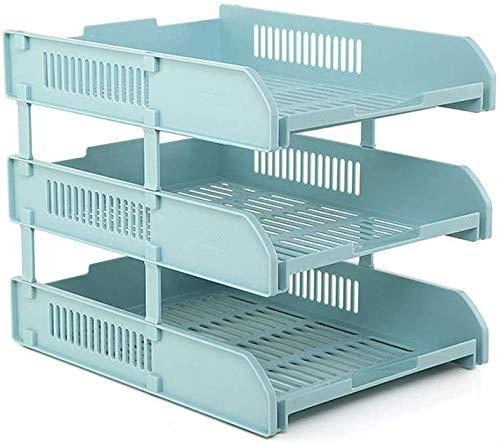 LY88 Boekenplank Multi-layer Bestandslade Kantoorbenodigdheden Desktop Data Column A4 Papier Rek Afwerkingsdoos (Kleur: Wit Afmeting: 3 vloeren)