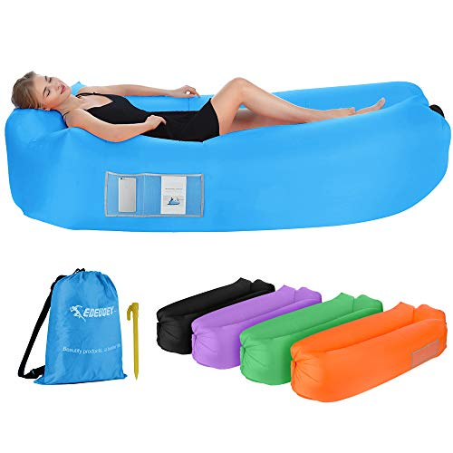 Edeuoey Inflatable Lounger Air Sofa: Waterproof Beach Travel Camping Outdoor Lazy Pack Bag Portable Small Hammock Chair Couch(Blue)