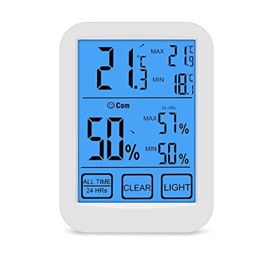 WENDUPPV Tippen Sie Indoor-Digital-Thermometer-Hygrometer mit LCD-Display und Gesicht Icons Hygrometer Thermometer und Feuchtigkeit Monitor-Anzeige for Home Office
