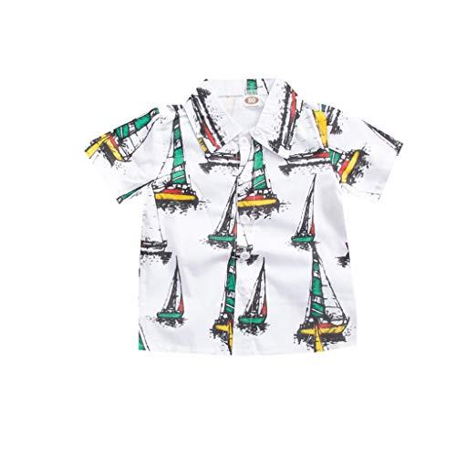 Anglewolf Baby-Jungen Freizeithemd Kurzarm Hemd Baumwollmischung Kinder Party Hemd Freizeit Hemd bügelleicht Kurz Sommer 1-6 Jahre(Weiß,80)