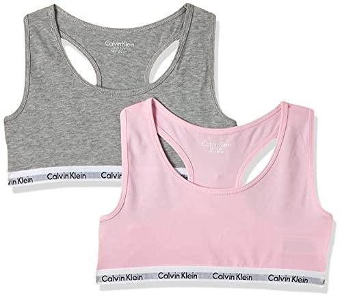 Calvin Klein 2pk Bralette Girl'S 2 Ropa Interior, Multicolor (Grey Htr/Unique 901), 10-12 años (Pack de 2) para Niñas