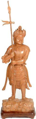 Exotic India Japanische Wrathful Guardian mit der Sieg Herald–KAIMA Holz Skulptur–Künstler vishwakarma Famil