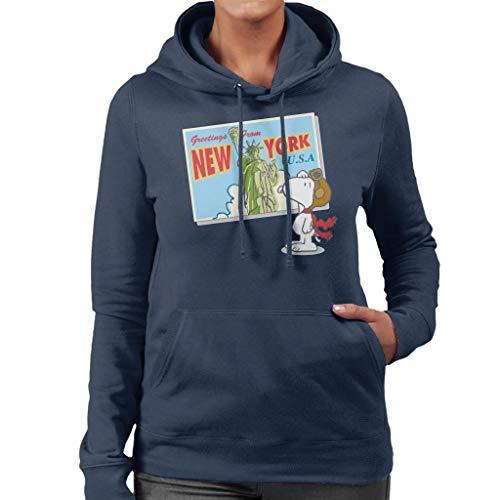 Pinda's Snoopy New York ansichtkaart ontwerp vrouwen Hooded Sweatshirt