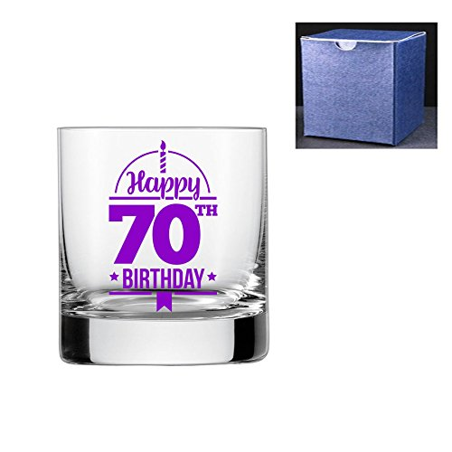 fantaisie gravé/imprimé Verre à whisky – Happy 70ème anniversaire, violet, Do Not Engrave A Message On The Reverse Side