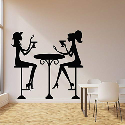 Fashion girl wall decal drink cocktail glass cafe bar restaurant decoration vinyl sticker 68X70cm