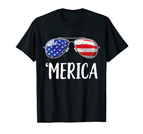 Merica Sunglasses 4th of July T shirt Kids Boys Girls Men US