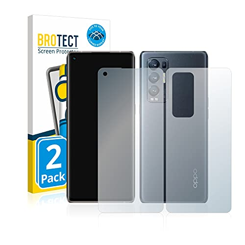 BROTECT Full-Cover Schutzfolie Matt kompatibel mit Oppo Find X3 Neo (Vorder + Rückseite) (2 Stück) - Full-Screen Bildschirmschutz-Folie, Curved