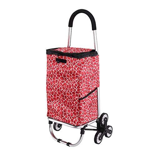 LYLSXY Trolleys, Faltbarer Einkaufswagen Auf Rädern Push Tote Warenkorb Carts Trolley Bag Korb Gepäckräder Stoff...
