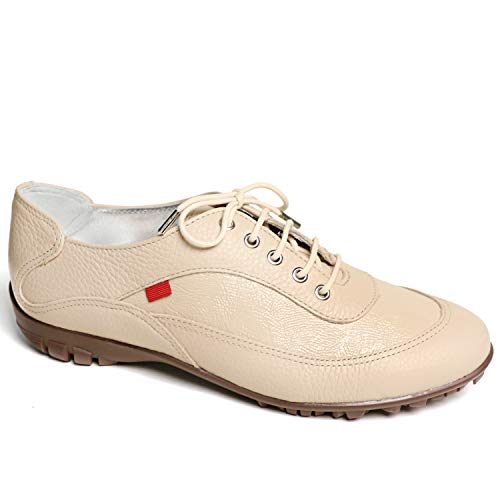 MARC JOSEPH NEW YORK Women's Leather Made in Brazil Luxury Lightweight Performance Golf Shoe, Nude Tumbled/Patent/Natural Sole, 6 M US