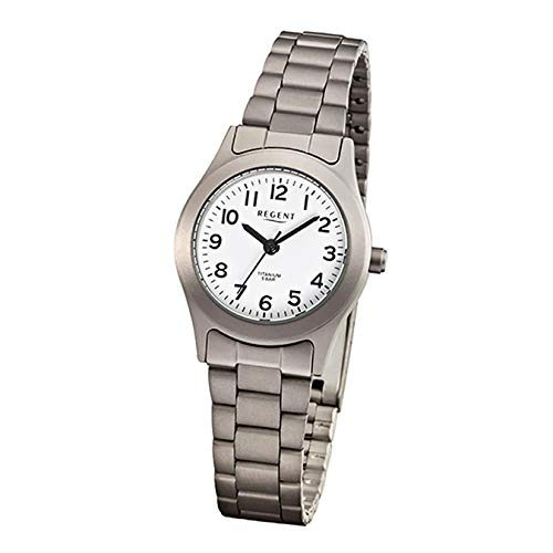 Regent Armbanduhr Titan Damenuhren-Kollektion Damen-Uhr mit Titan (Metall)-Armband grau silber analoges Quarzwerk D1URF855