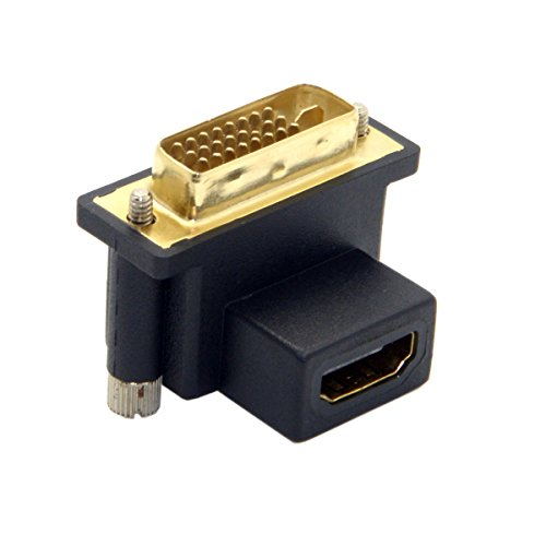Cablecc 90 Grad DVI-Stecker auf HDMI-Buchse, Adapter für Computer & HDTV & Grafikkarte