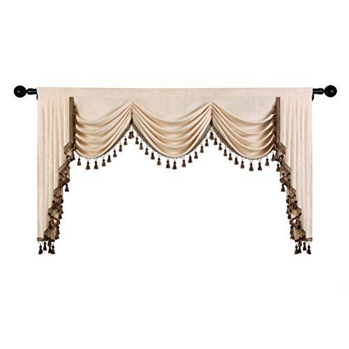 Beidseitiger Chenille-Querbehang für Wohnzimmer, luxuriöser Fenstervorhang, Volant für Schlafzimmer,...