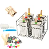 Yaekoo Set of 6 Stainless Steel Popsicle Mold and Rack Set - Homemade Ice Treat Makerwith 50 Wooden Sticks and 6 Silicone Seals and Bonus Cleaning Brush