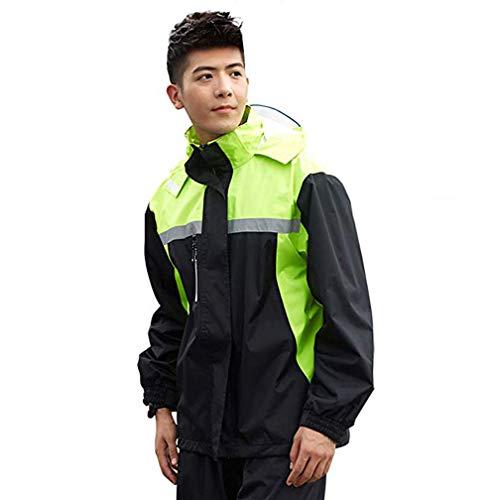 La Mode Poncho Pluie Impermeable Tops + Pantalons, en Tissu Polyester imperméable de Haute qualité,Double Couche Respirante,Poncho ImperméAble de Homme Adulte,A,L